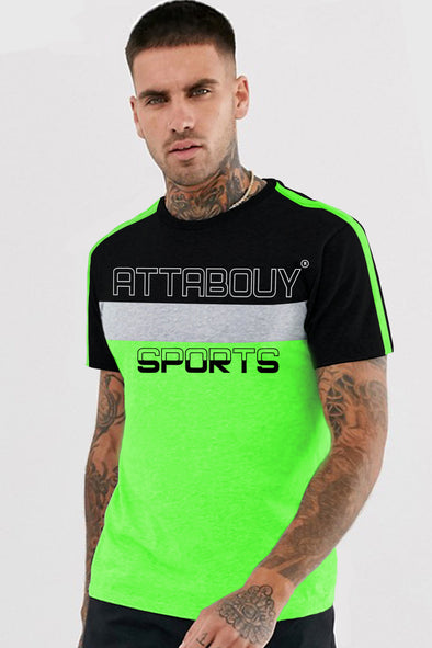 Attabouy Sports Neon Green Men Half Sleeves Tshirt