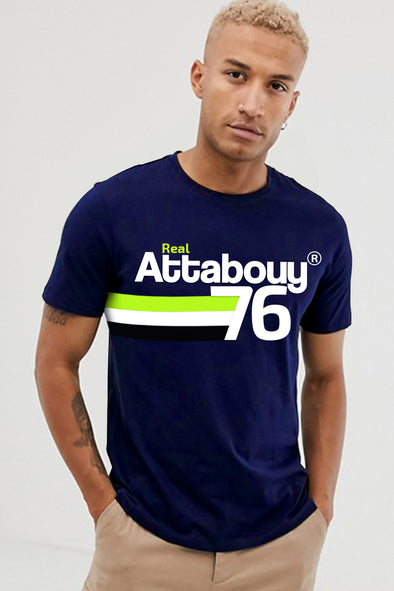 76 Attabouy Neon Green Men Half Sleeves Tshirt