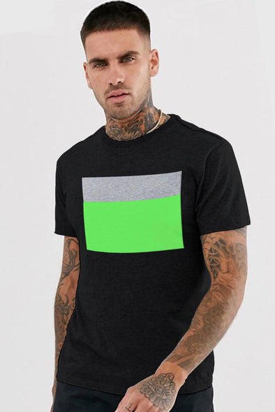 Box Grey Melange and Neon Green Men Half Sleeves Tshirt