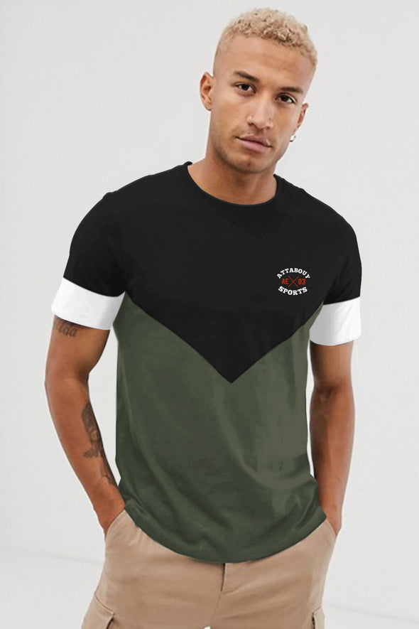 Deep V Men Black and Olive Green Half Sleeves Tshirt