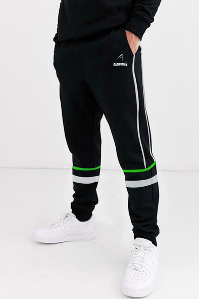 White and Neon Green Stripe Black Men Joggers