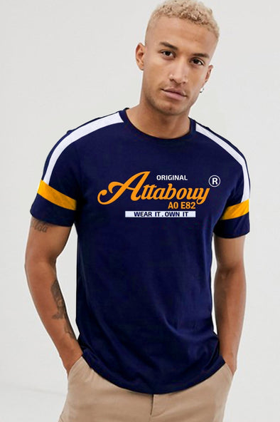 Original Attabouy Men Navy Blue Half Sleeves Tshirt