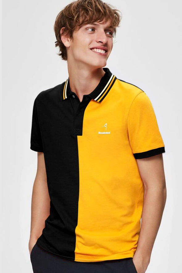 H2H Black and Yellow Men Half Sleeve Polo Tshirt