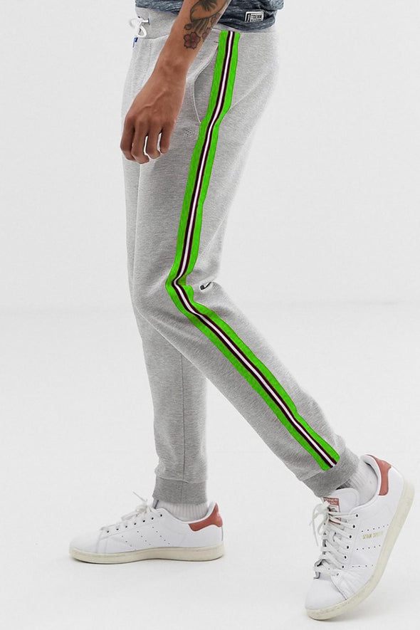 Neon and Reflective Stripe Grey Melange Men Joggers