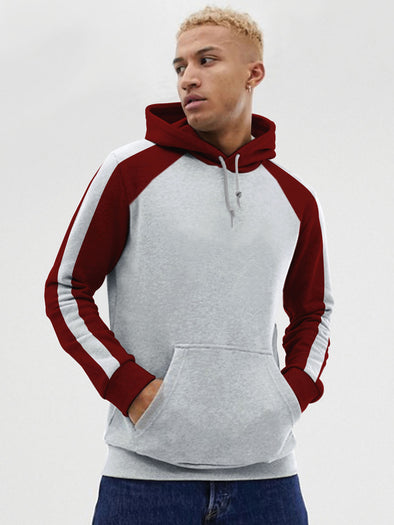 Grey and Maroon Stripe Raglan Hoodie