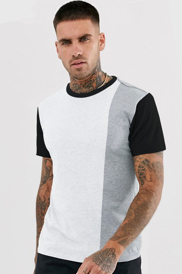 White and Grey Melange Panel Round Neck Half Sleeves Tshirt