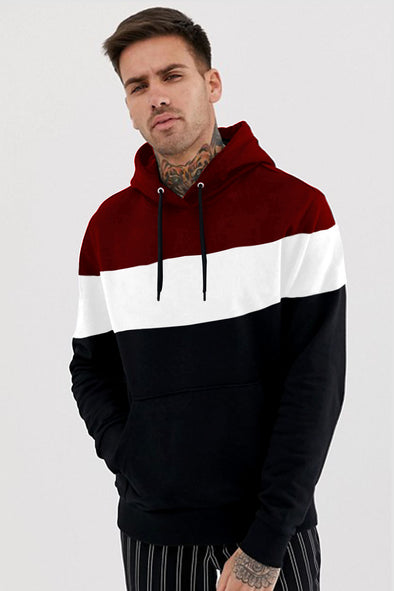 Maroon White and Black Hoodie