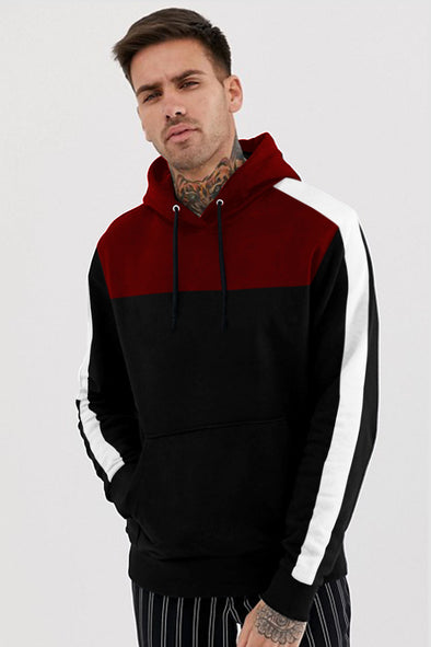 White Stripe Maroon and Black Hoodie
