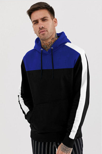 White Stripe Royal Blue and Black Hoodie