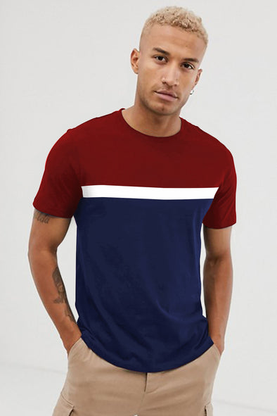 Maroon White and Navy Blue Round Neck Half Sleeves Tshirt