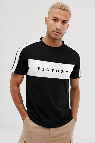Victory Black Round Neck Half Sleeves Tshirt