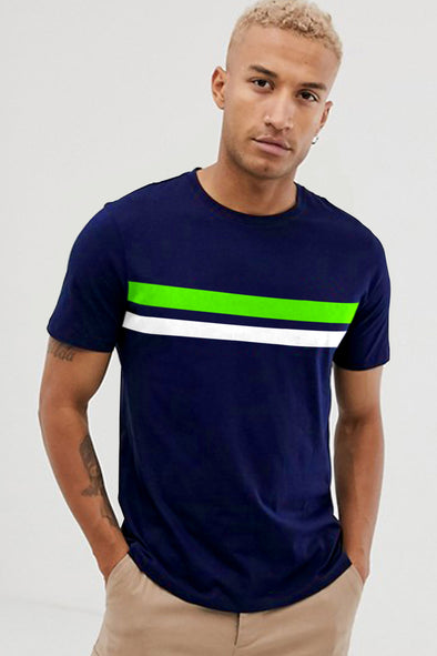 Navy Blue with Neon Green and White Stripe Round Neck Half Sleeves Tshirt