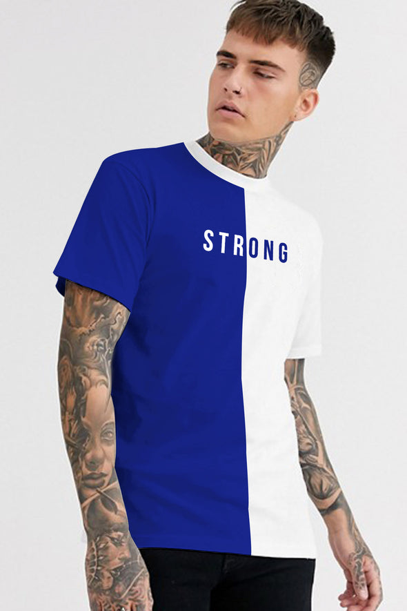 Strong Royal Blue and White Men Half Sleeves Tshirt