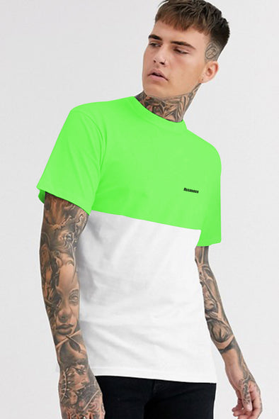 Neon Green and White Round Neck Half Sleeves Tshirt