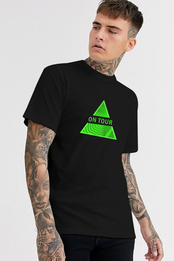 On Tour Black Round Neck Half Sleeves Tshirt