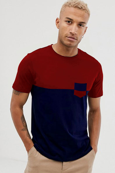 Maroon and Navy Blue Pocket Round Neck Half Sleeves Tshirt