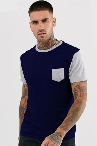 Navy Blue and Grey Melange Pocket Round Neck Half Sleeves Tshirt