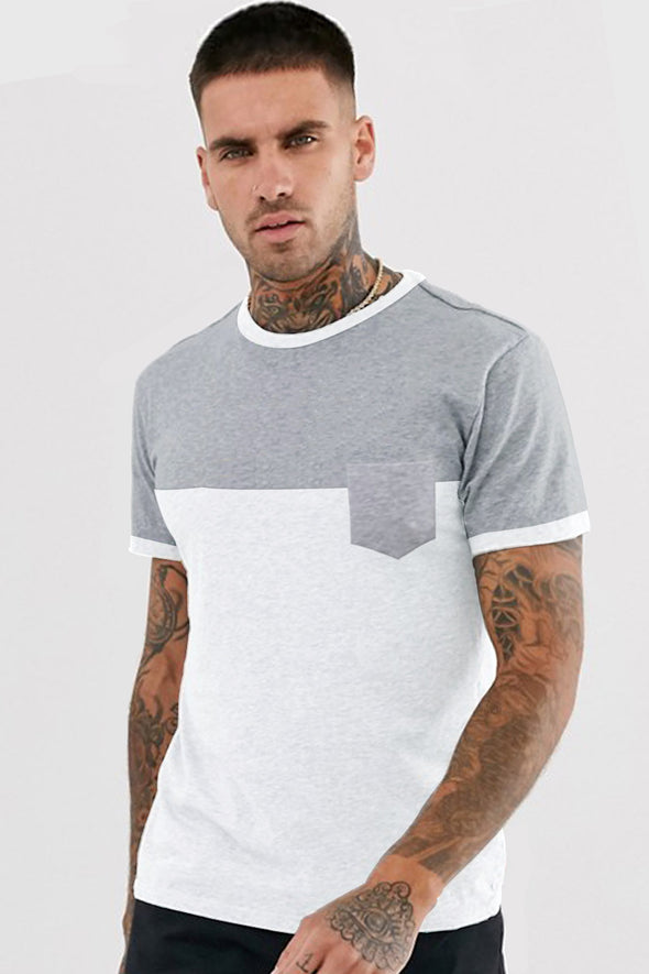 White and Grey Melange Pocket Round Neck Half Sleeves Tshirt