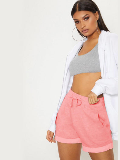 Peach Fleece Gym Shorts