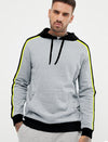 Stylish Running Arm Stripes Men Grey Melange Hoodie