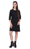 Black 3/4th Sleeves Long Line Dress