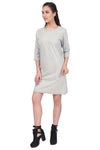 Grey 3/4th Sleeves Long Line Dress