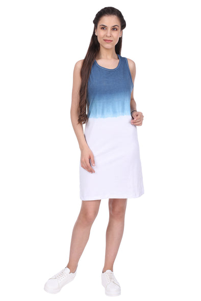Women Sleeveless White and Blue  Ombre Long Line Dress