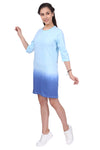 Women Blue 3/4th Sleeves Ombre Long Line Dress