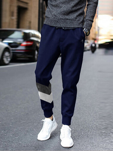 V Stripe Grey Melang White and Navy Blue Joggers