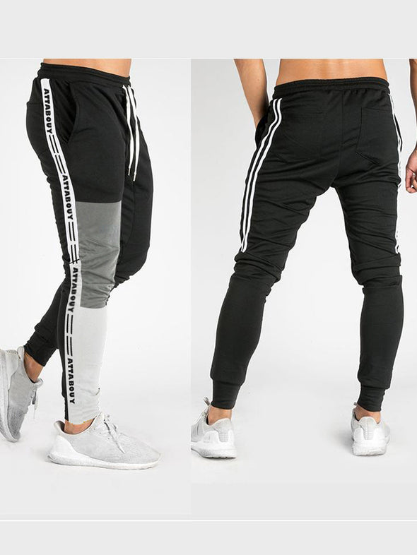 Attabouy Stripes Black Grey Melange and Black Melange Joggers