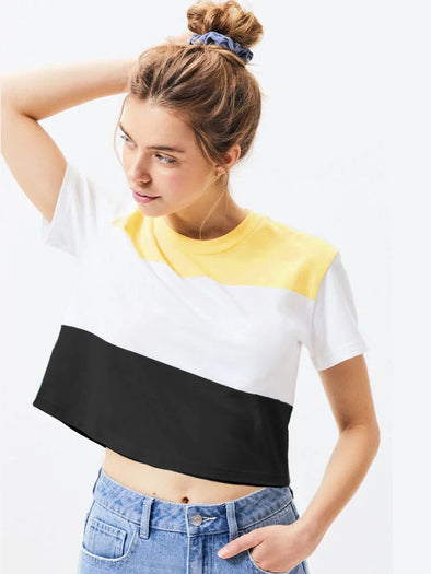 Yellow, White and Black Women Crop Top