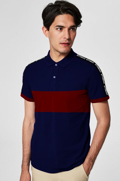 Navy Blue and Maroon Classic Men Polo Tshirt