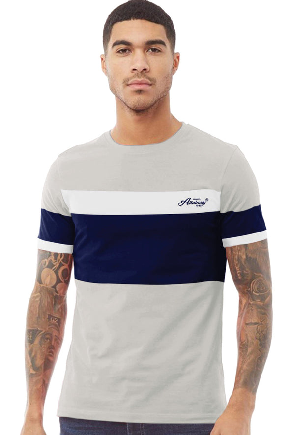 Navy Blue Panel Men Beige Melange Half Sleeves Tshirt
