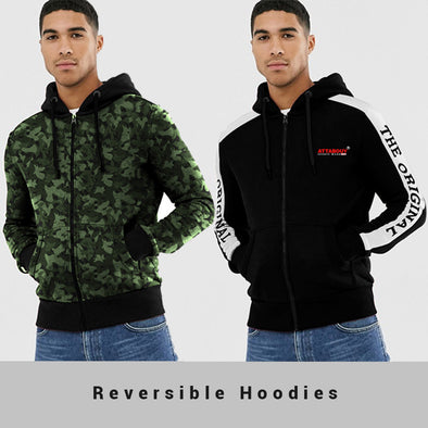 Camoflouge Green and Black Reversible Hoodie