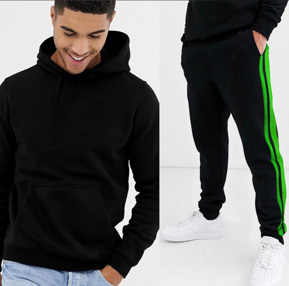 Jogger Suits Jet Black Hoodie and Neon Stripe Jogger