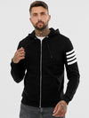 Four Arm Stripes Black Zipper Hoodie