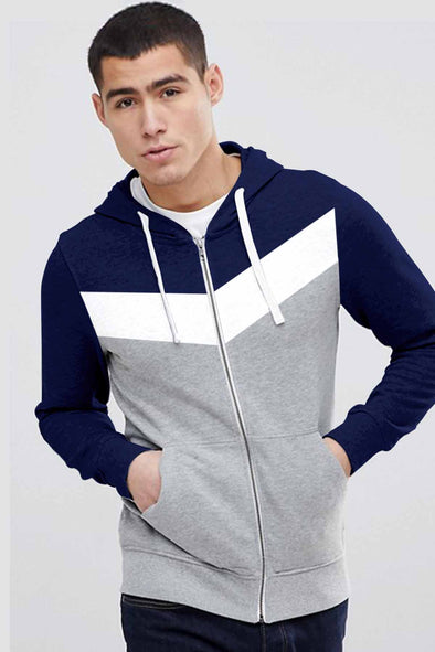 Captain White Stripe Men Zipper Hoodie
