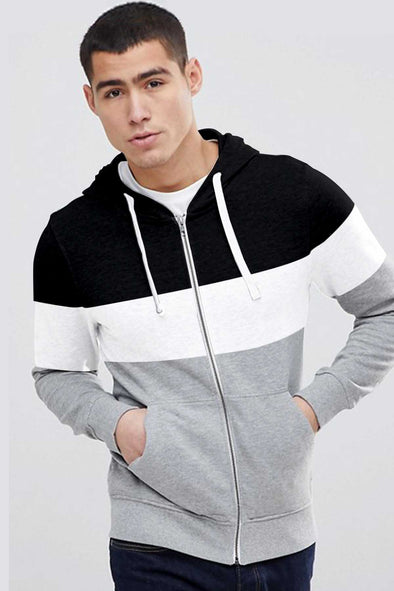 Black White and Grey Melange Men Zipper Hoodie