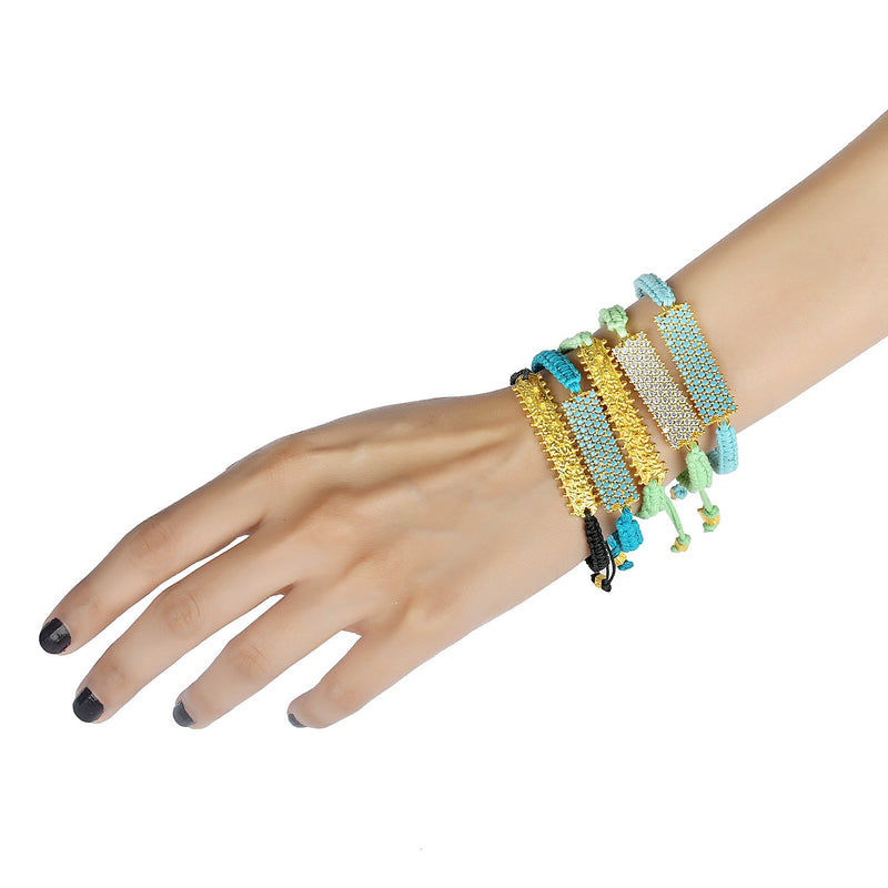 Adjustable Studded Bar Bracelet (Green) BRACELET ARVINO