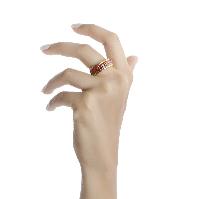 Baguette Red CZ Line Band RING ARVINO