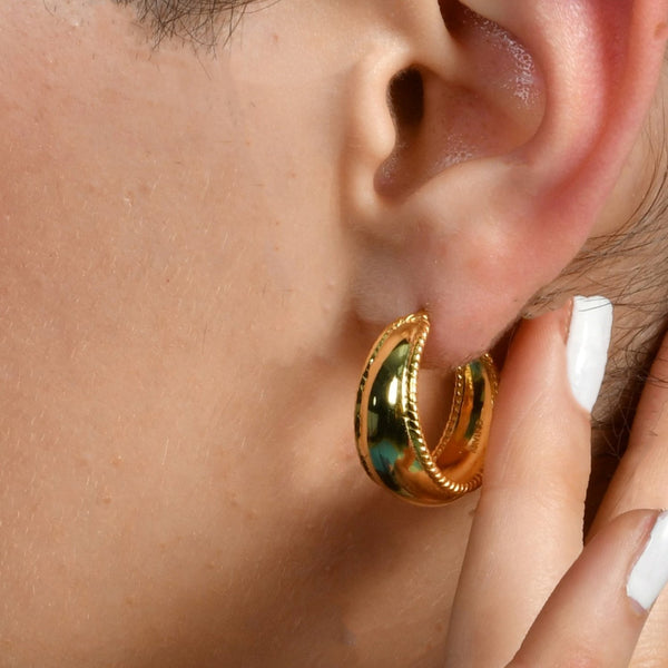 BORDERED DOME HOOPS EARRING ARVINO