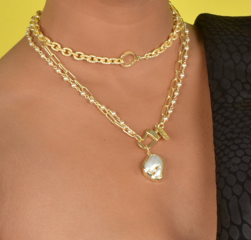 DOUBLE CHAIN HAMMERED PEARL NECKLACE NECKLACE ARVINO