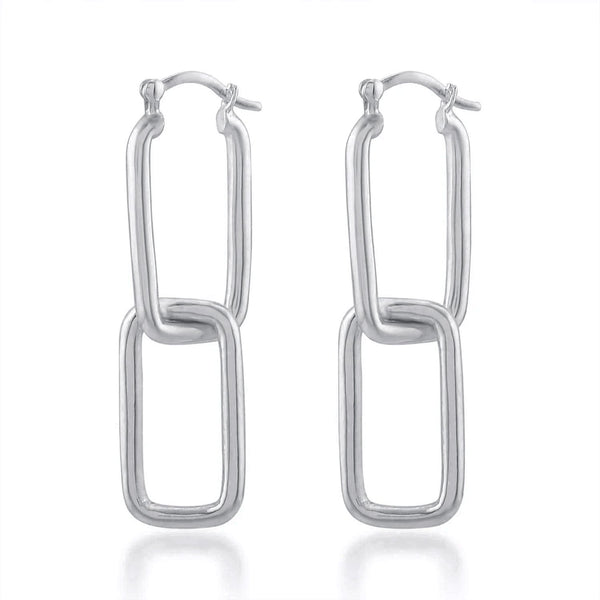 Double Rectangle Drop Earrings EARRING ARVINO SILVER