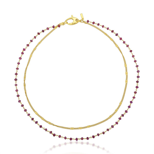 Dual Ruby Beads Chain Necklace NECKLACE ARVINO
