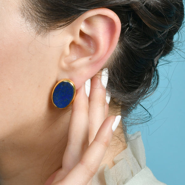 LAPIS OVATE STUDS EARRING ARVINO