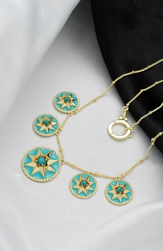 Star Engraved Blue Enamel Charms Necklace NECKLACE ARVINO