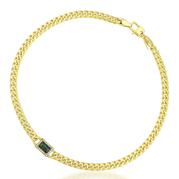 Studded Chain Cord Necklace (Malachite) NECKLACE ARVINO