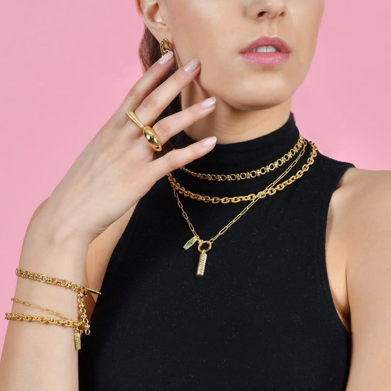 TEXTURED CABLE CHAIN NECKLACE NECKLACE ARVINO