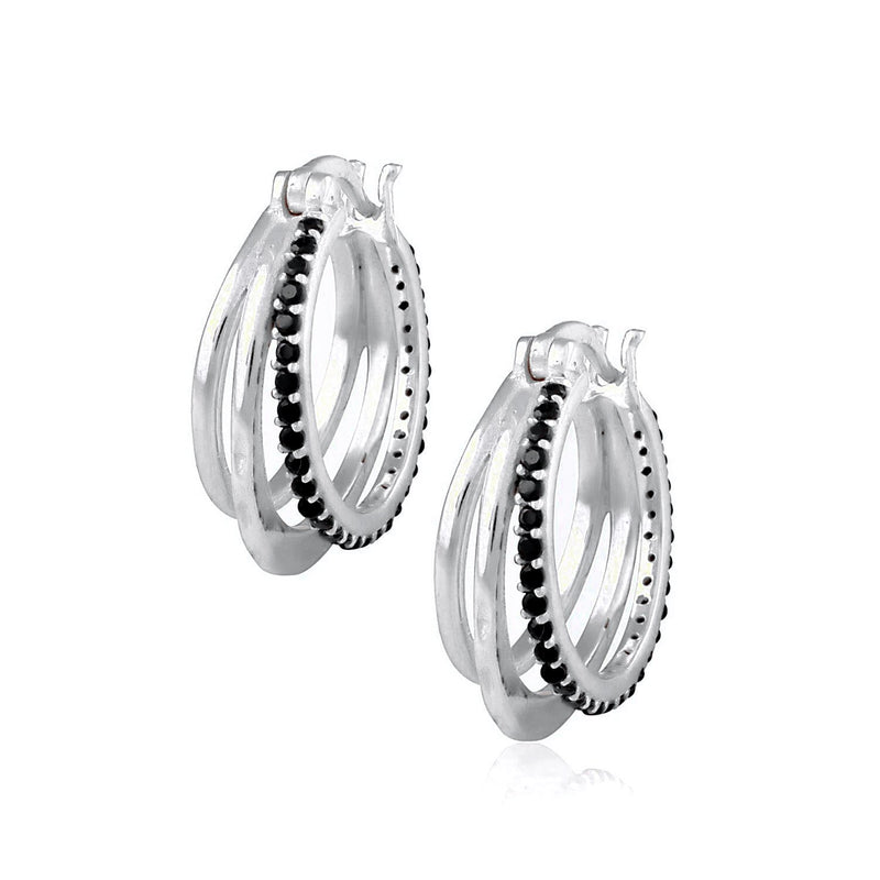 Tripartite Pave Huggies (Black CZ) EARRING ARVINO SILVER