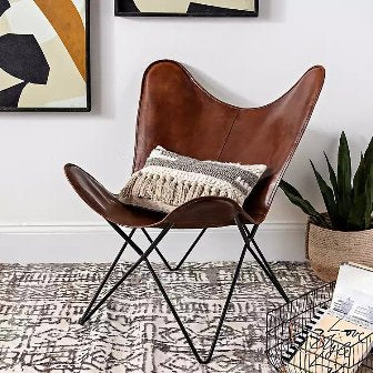 BROWN LEATHER BUTTERFLY RELAXING CHAIR